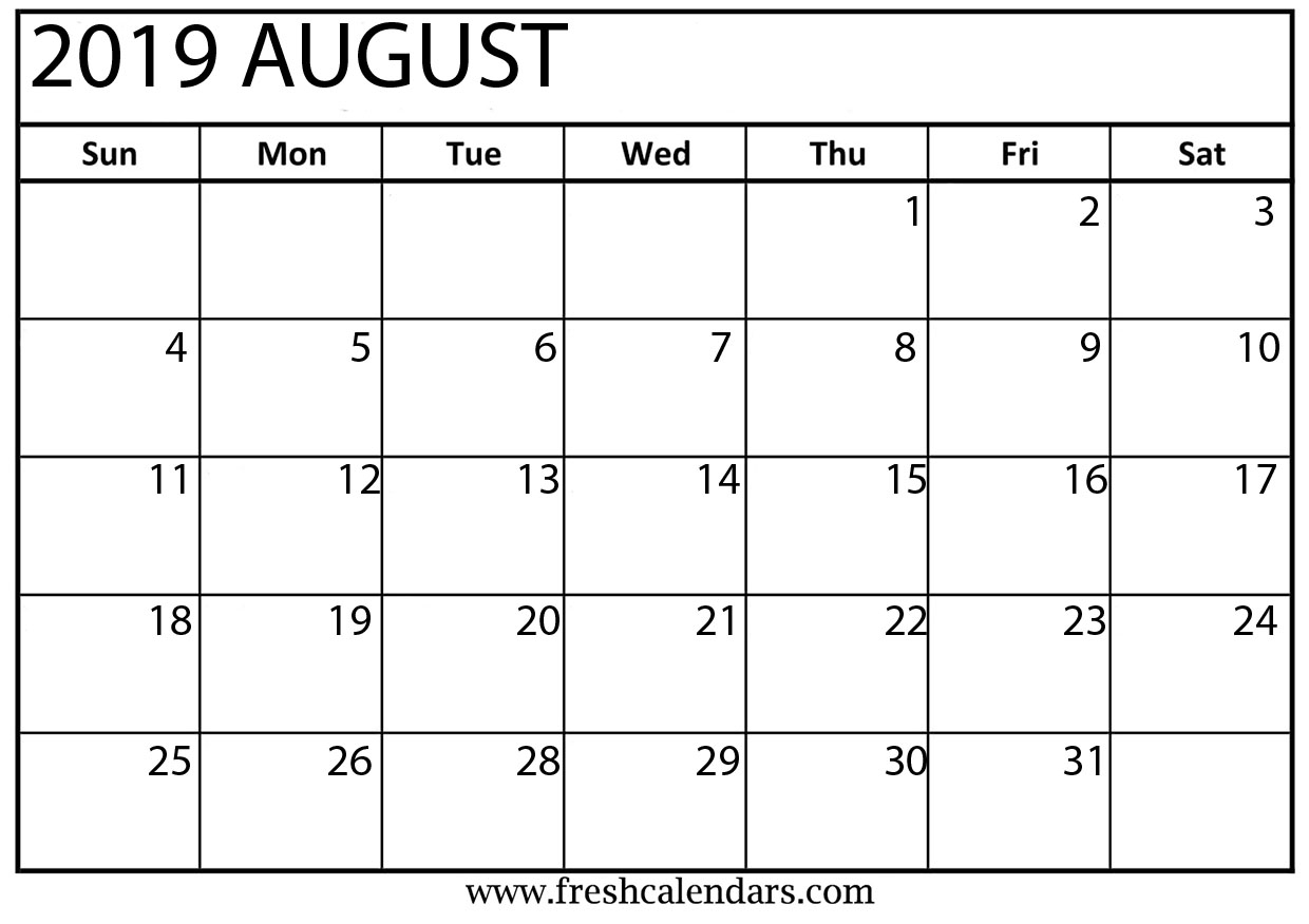 August 2019 Calendar Printable - Fresh Calendars intended for Picture Of August On Calendar