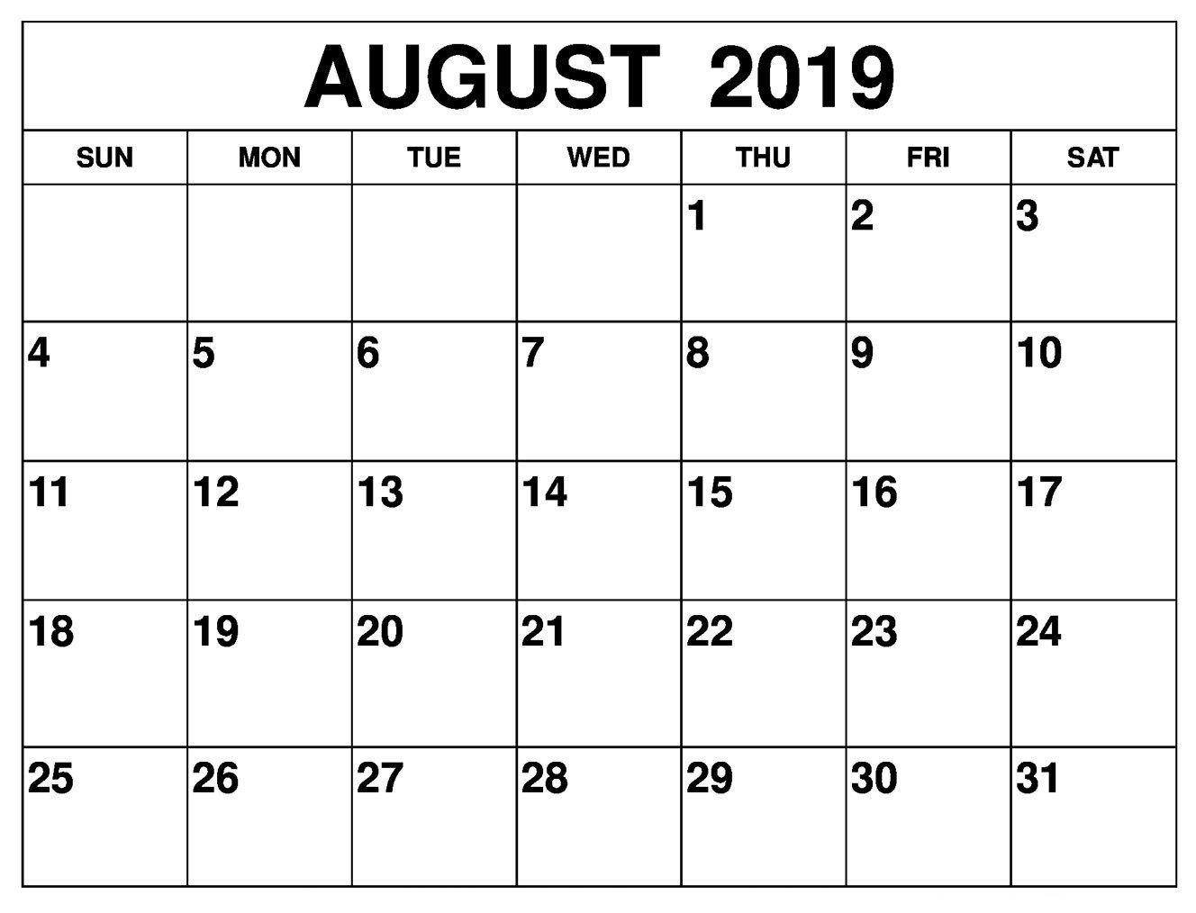 August 2019 Calendar #printables | August 2019 Calendar For Monthly for 31 Day Month Calendar Printable