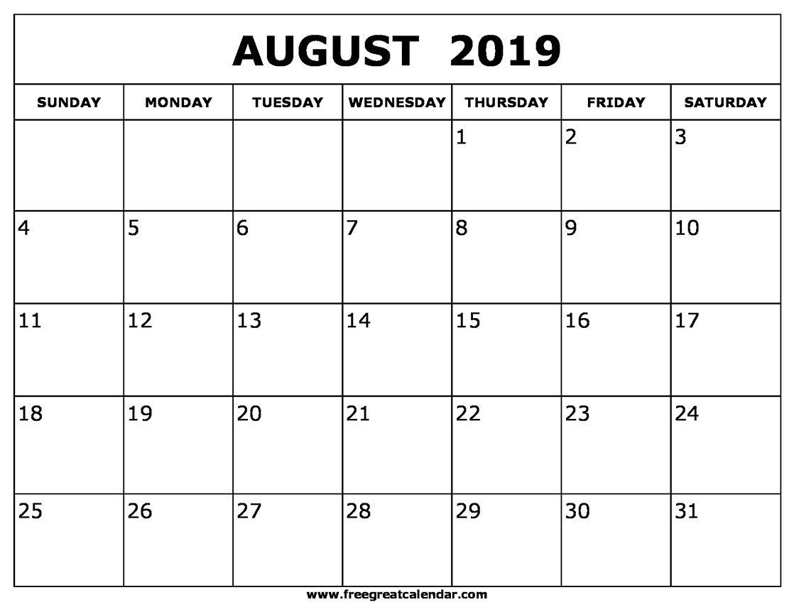 August 2019 Calendar Templates | August 2019 Calendar Printable in 31 Day Month Calendar Printable