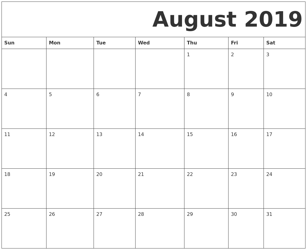 August 2019 Free Printable Calendar for Numbers Free Printable Calendar For August