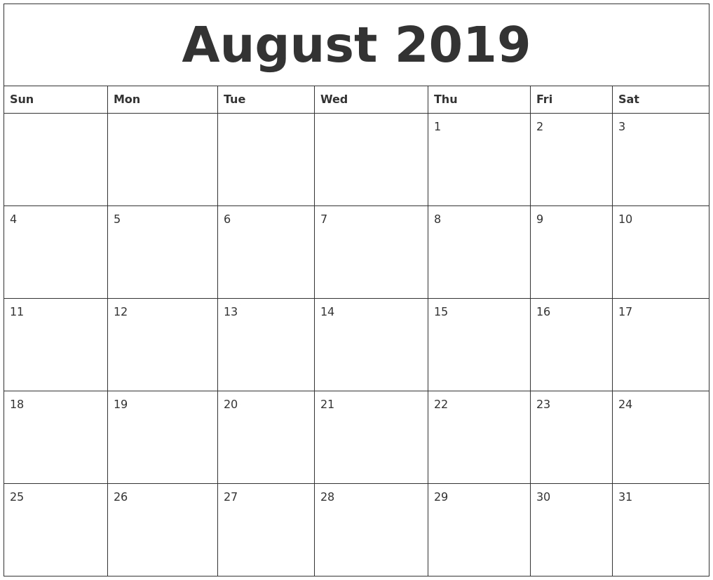 August 2019 Monthly Printable Calendar pertaining to Blank Calendar For A Month