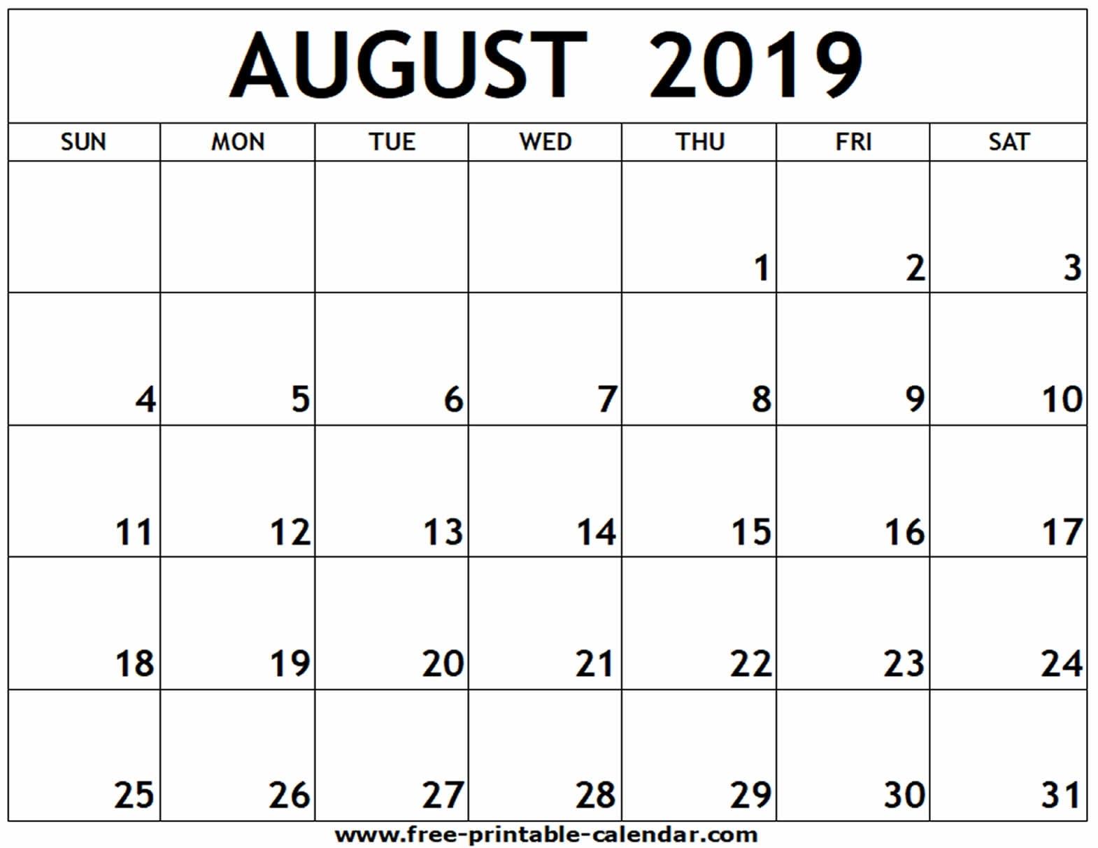 August 2019 Printable Calendar - Free-Printable-Calendar within Numbers Free Printable Calendar For August