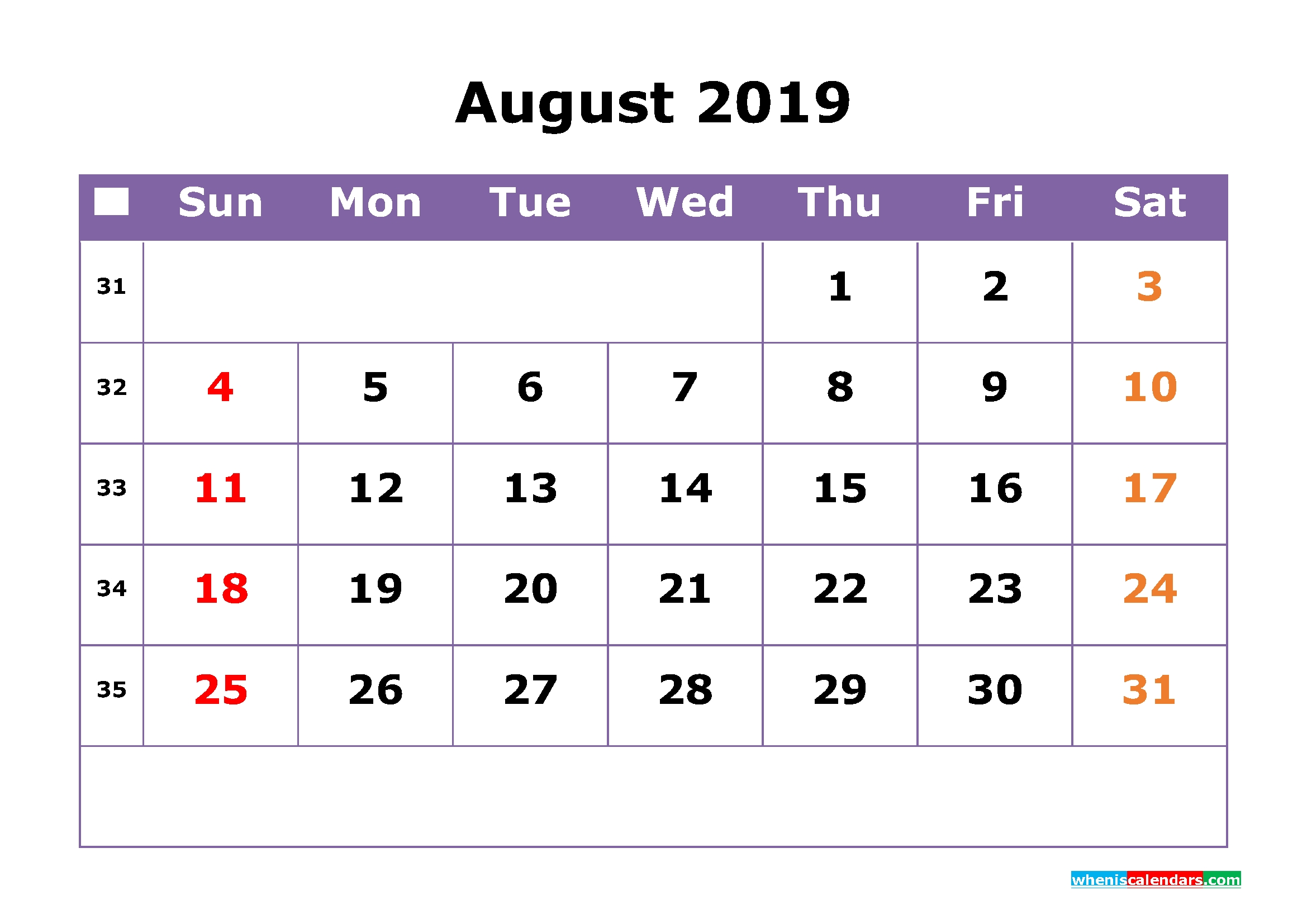 August 2019 Printable Calendar With Week Numbers For Free Download regarding Numbers Free Printable Calendar For August
