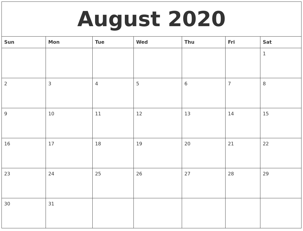 August 2020 Large Printable Calendar pertaining to Large Printable Blank Calendar Pages