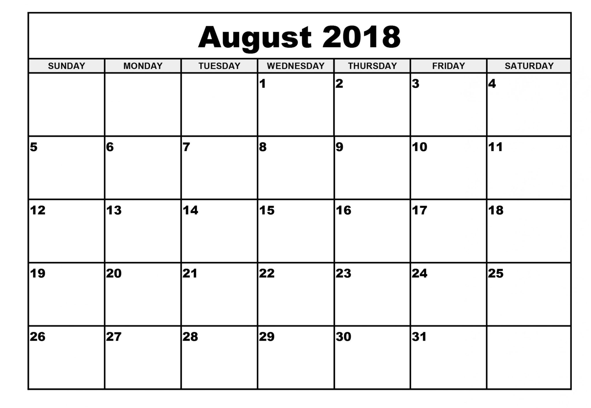 August Month Calendar 2018 Printable Template - July 2019 Calendar in Month Of August On A Calendar