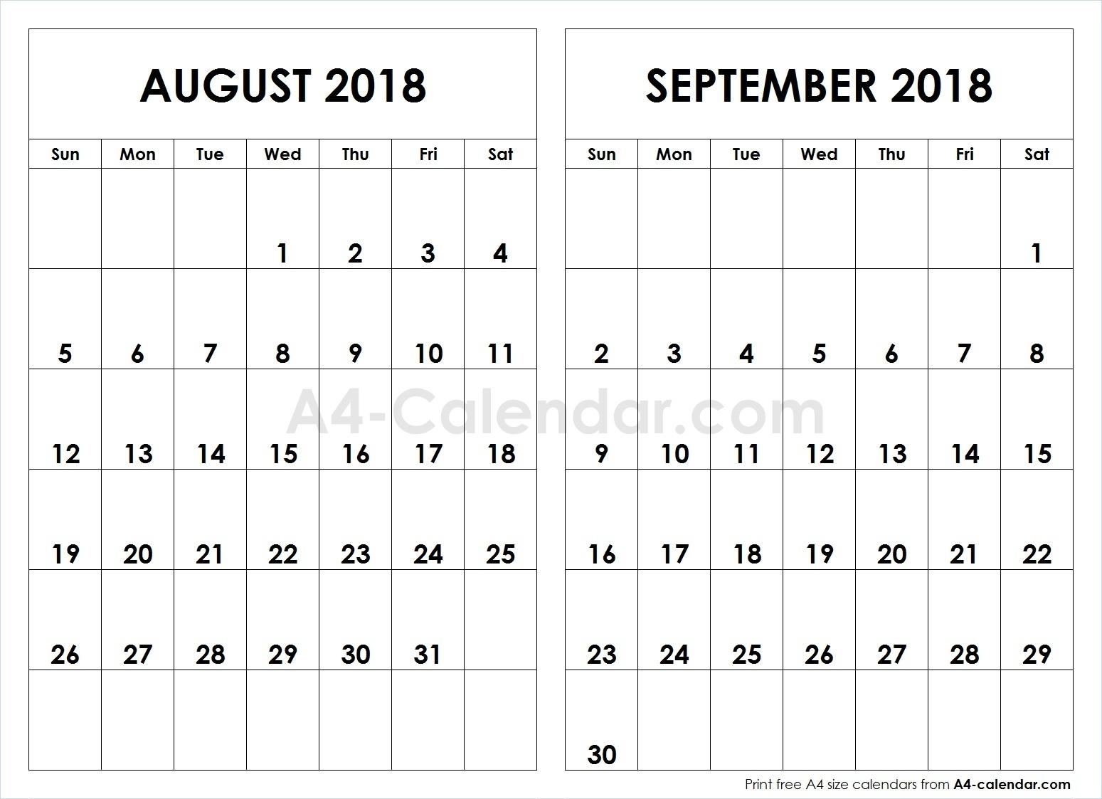 August September 2018 A4 Calendar | 2 Month Calendar Template pertaining to August And September Calendar Printable
