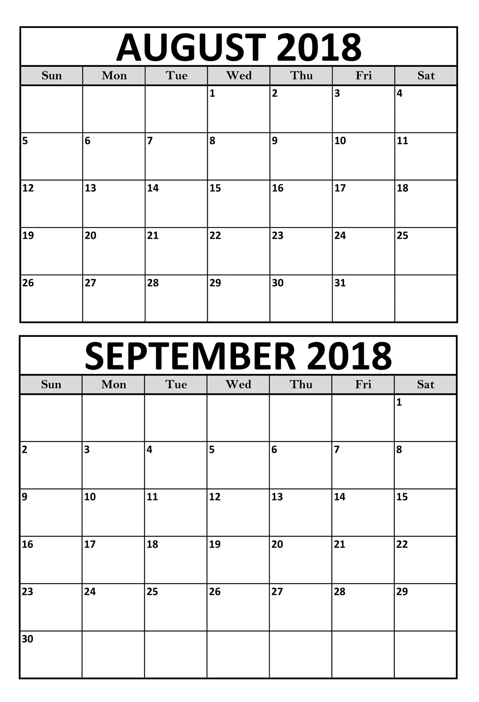 August September 2018 Calendar Printable Template | August September for August And September Calendar Printable