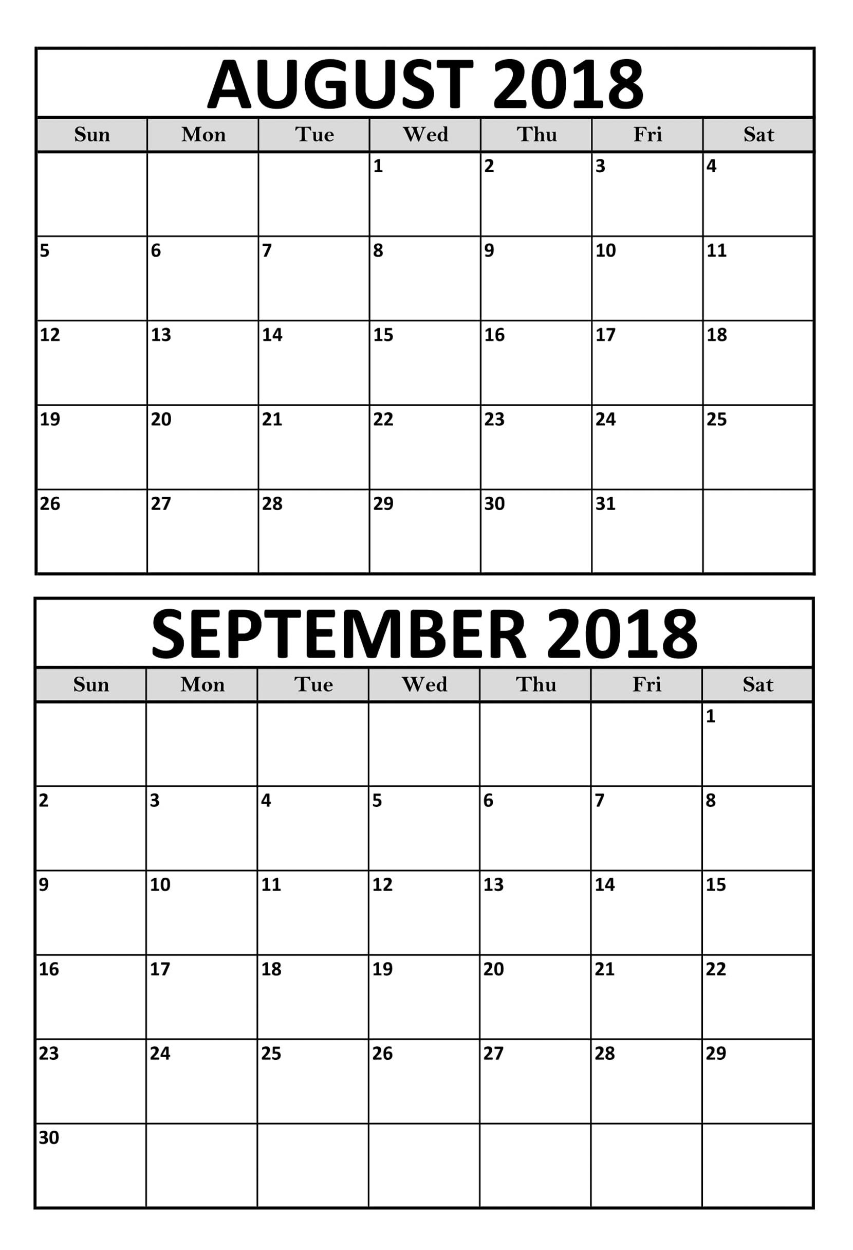 August September 2018 Calendar Printable Template | August September pertaining to August And September Calendar Template