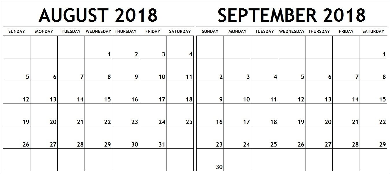 August September 2018 Calendar Template Pdf With Holidays intended for August And Septmber Calendar Together