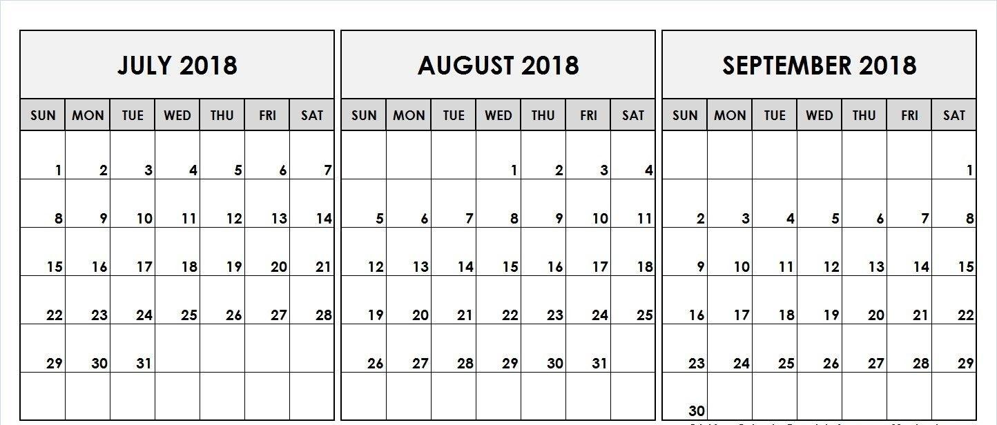 August September 2018 Calendar Template | Printable August Calendar pertaining to August And Septembercalendar Free Printables
