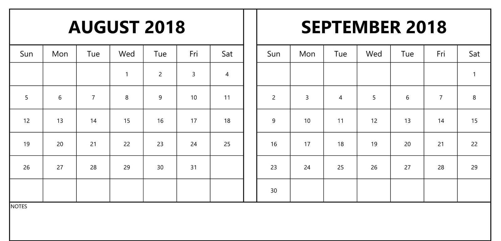 August & September 2018 Printable Calendar - Calendar End - 2019 with regard to August And September Calendar Printable