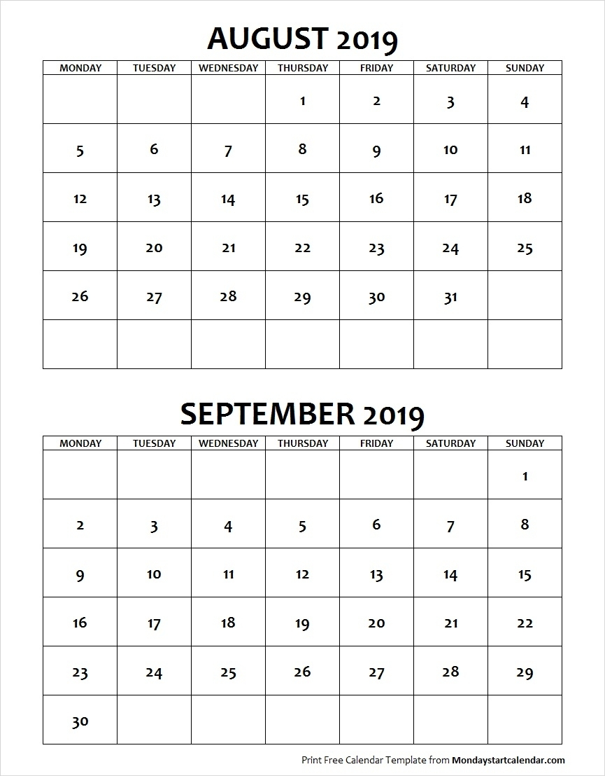 August September 2019 Calendar Monday Start | Two Months Template for August And Septmber Calendar Together