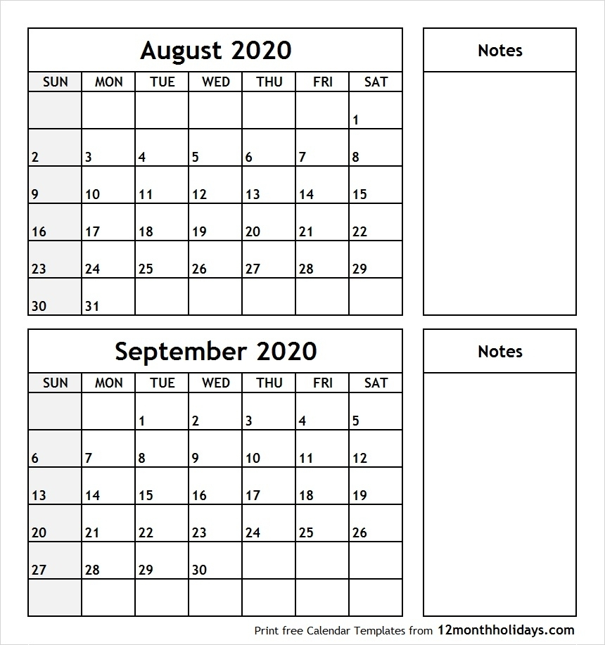August-September-2020-Printable-Calendar - All 12 Month Calendar throughout August And September Calendar Printable