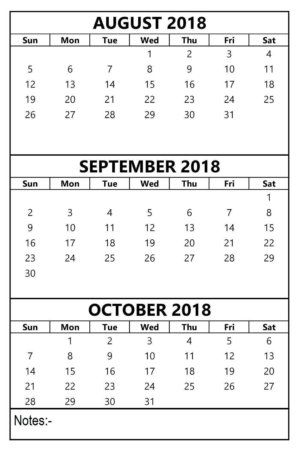 August September October 2018 Calendar 3 Months Template | August with regard to Pinterest 3 Month Calendar Print Out