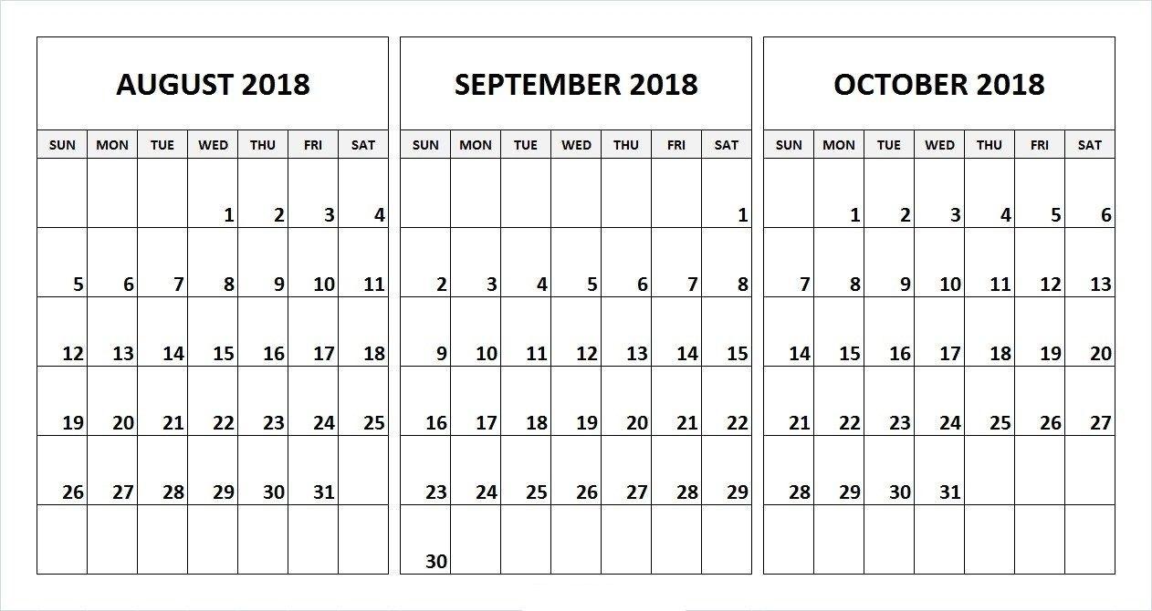 August September October 2018 Calendar Desk Template | August within 3 Month Printable Calendar Template