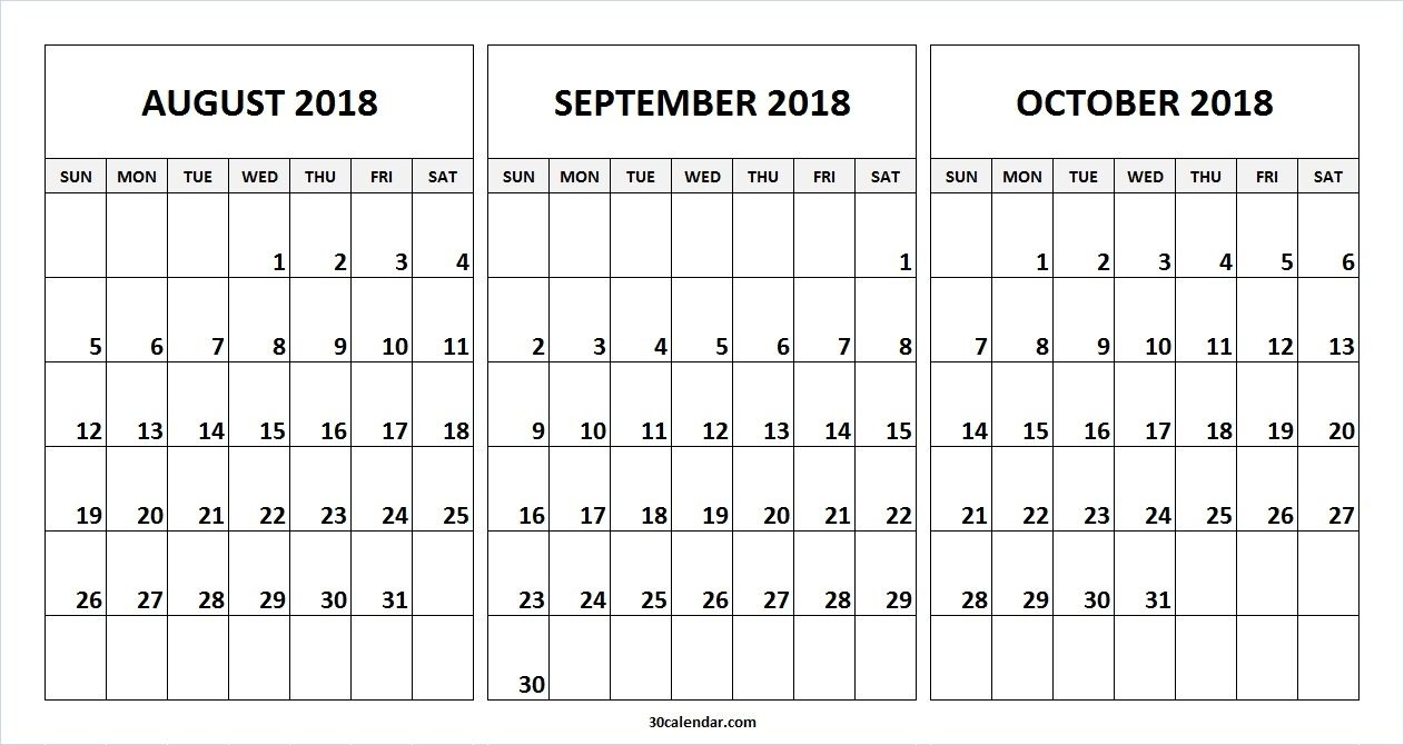 August September October 2018 Calendar Free Template | Alone within 3 Month Calendar Free Printable