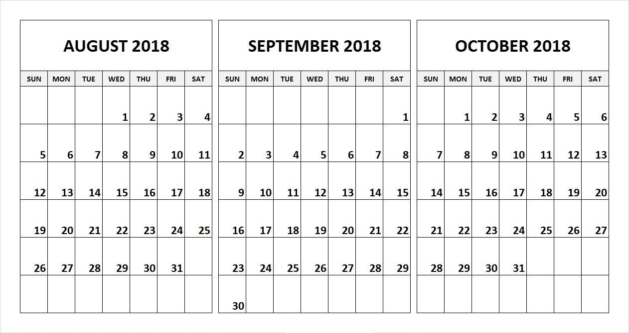 August & September & October 2018 Printable Calendar | Free in August And September Calendar Printable