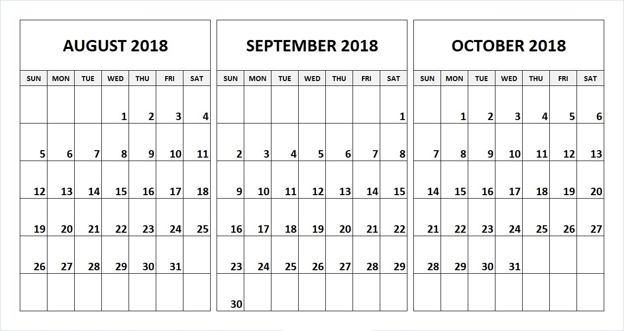 August & September & October 2018 Printable Calendar | Free intended for August And September Calendar Template