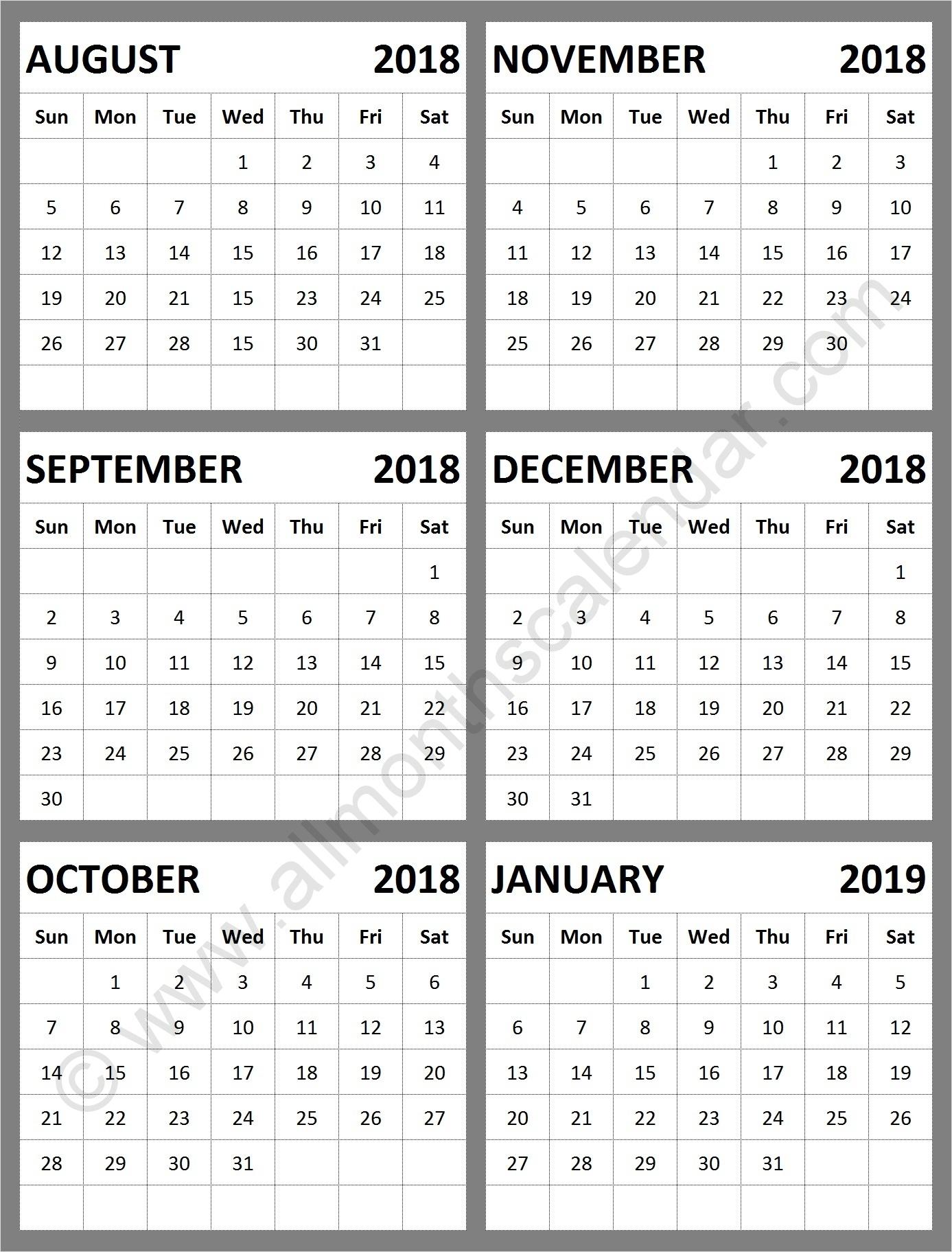 August September October November December 2018 January 2019 Calendar with Calander From August - December