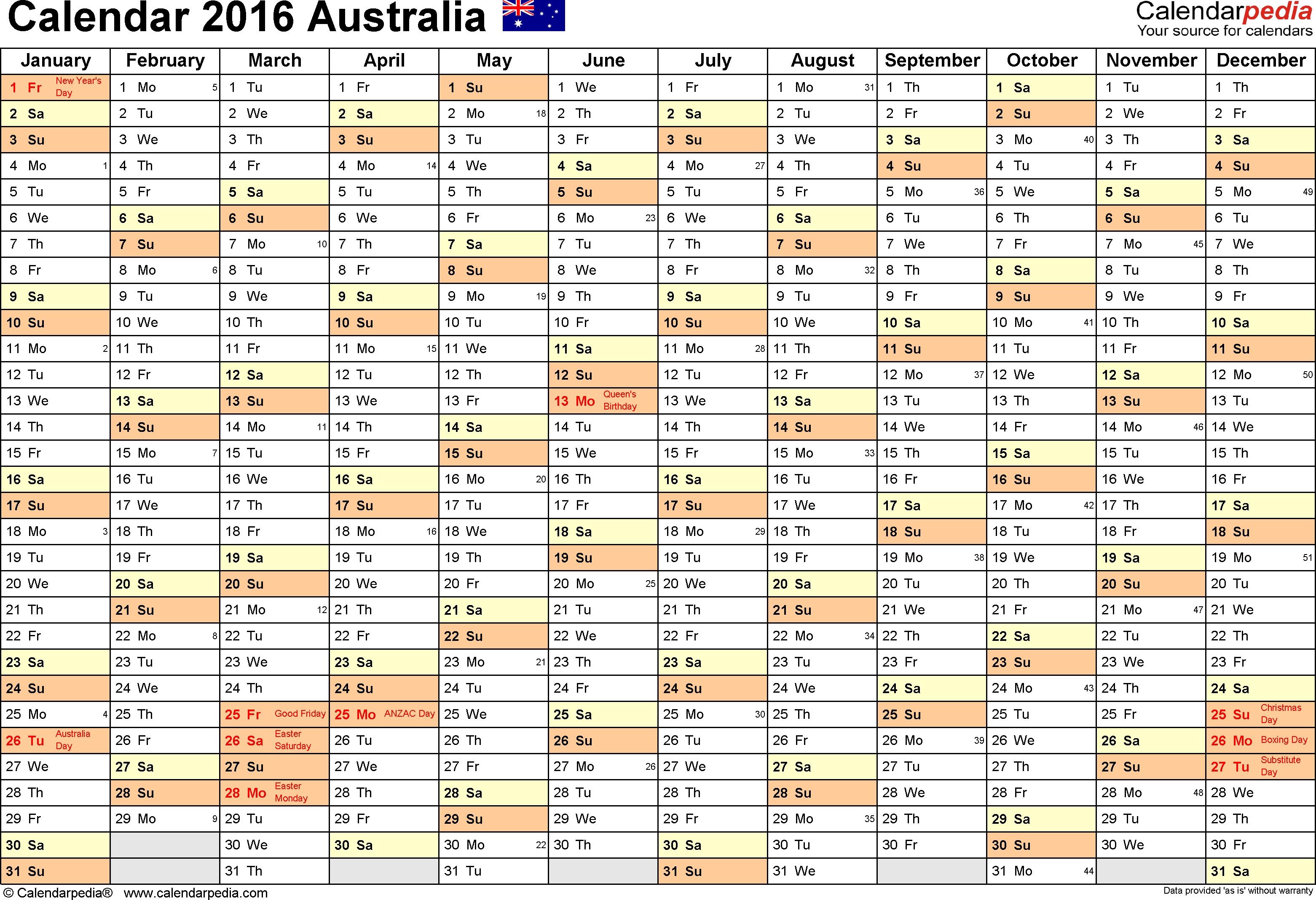 Australia Calendar 2016 - Free Printable Pdf Templates inside Australian Months Of Year Printable