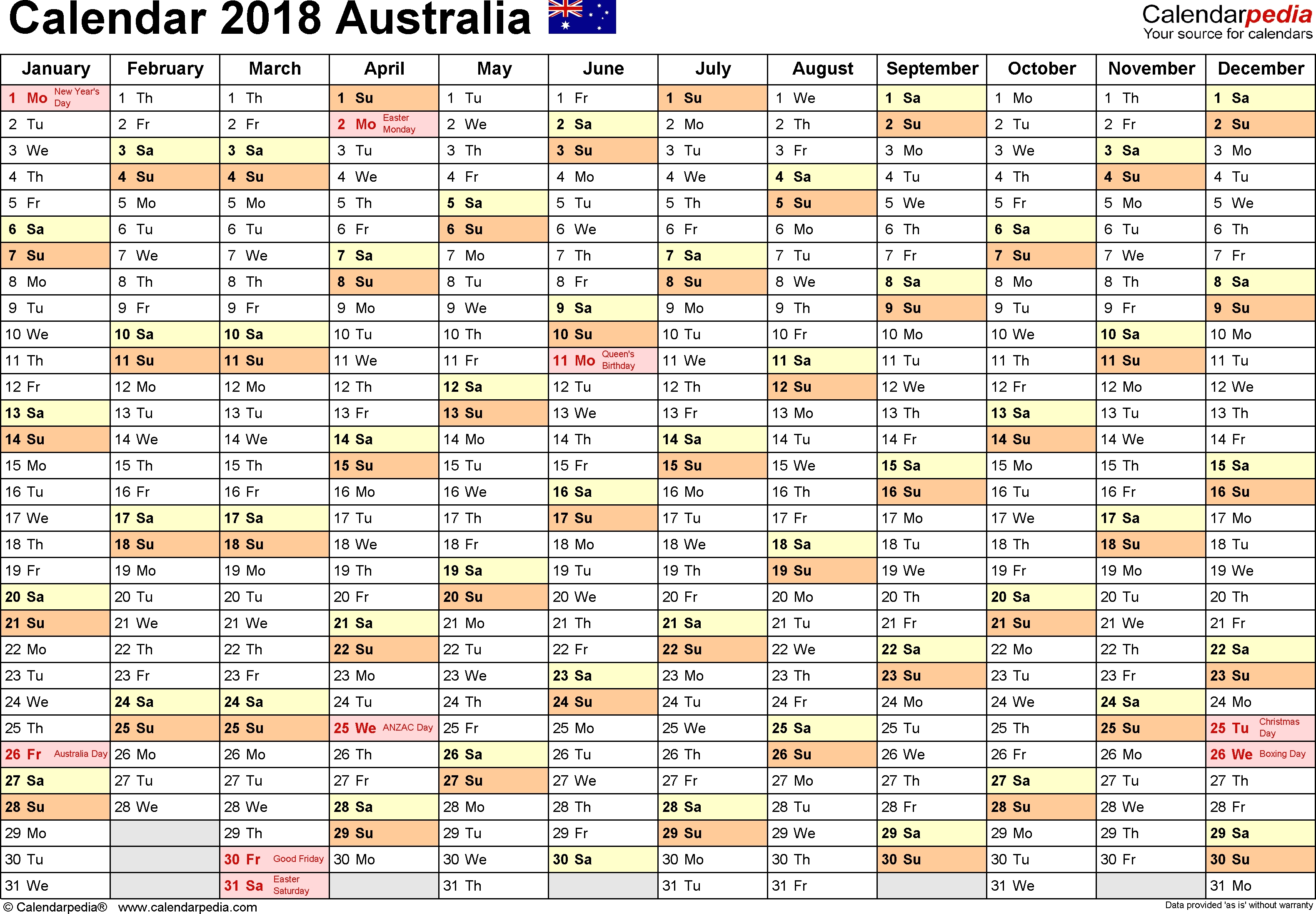 Australia Calendar 2018 - Free Printable Pdf Templates with regard to Australian Months Of Year Printable