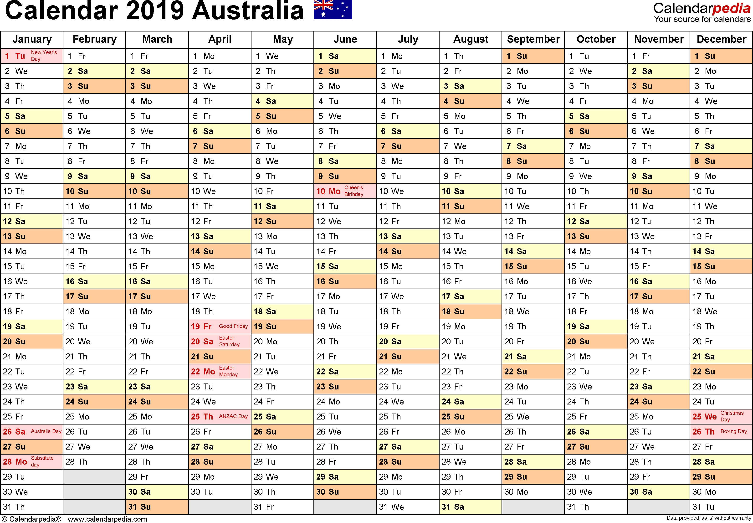 Australia Calendar 2019 - Free Printable Pdf Templates inside Week By Week Mowing Calendar Templates
