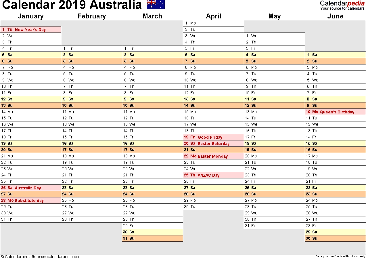 Australia Calendar 2019 - Free Printable Pdf Templates with regard to Week By Week Mowing Calendar Templates