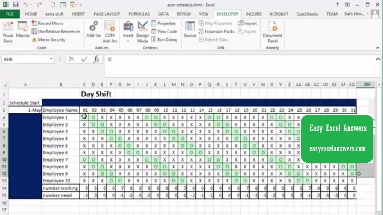 Automatically Create Shift Schedule In Excel - Youtube with regard to 3 12 Hour Shift Schedule