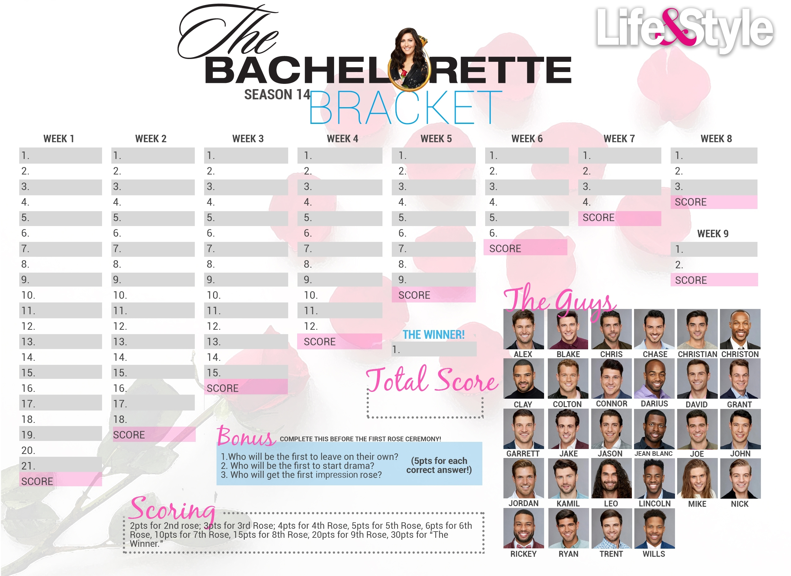 Bachelorette Bracket 2018 — Download, Print Before The Premiere pertaining to Bachelorett Fill In Blank Templets