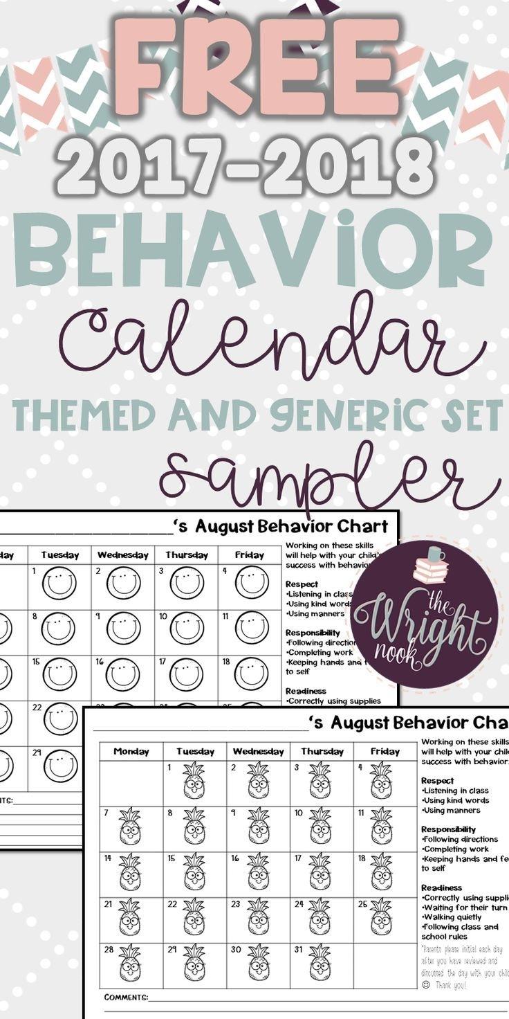 Behavior Chart Calendar Freebie Sampler   Classroom Management for Free Behavior Calendars For Kindergarten