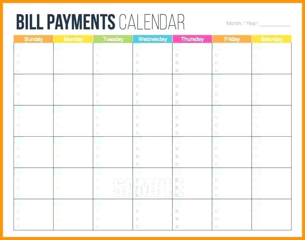 Bill Calendar Template Printable Monthly Pay Payment Paying Budget intended for Payday And Bill Calendar Printable