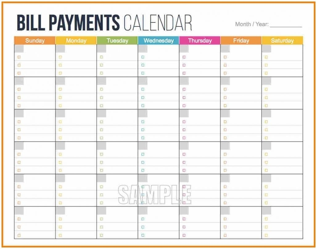 Bill Pay Spreadsheet Excel Awesome Bill Payment Calendar Template intended for Printable Calendar For Bill Paying