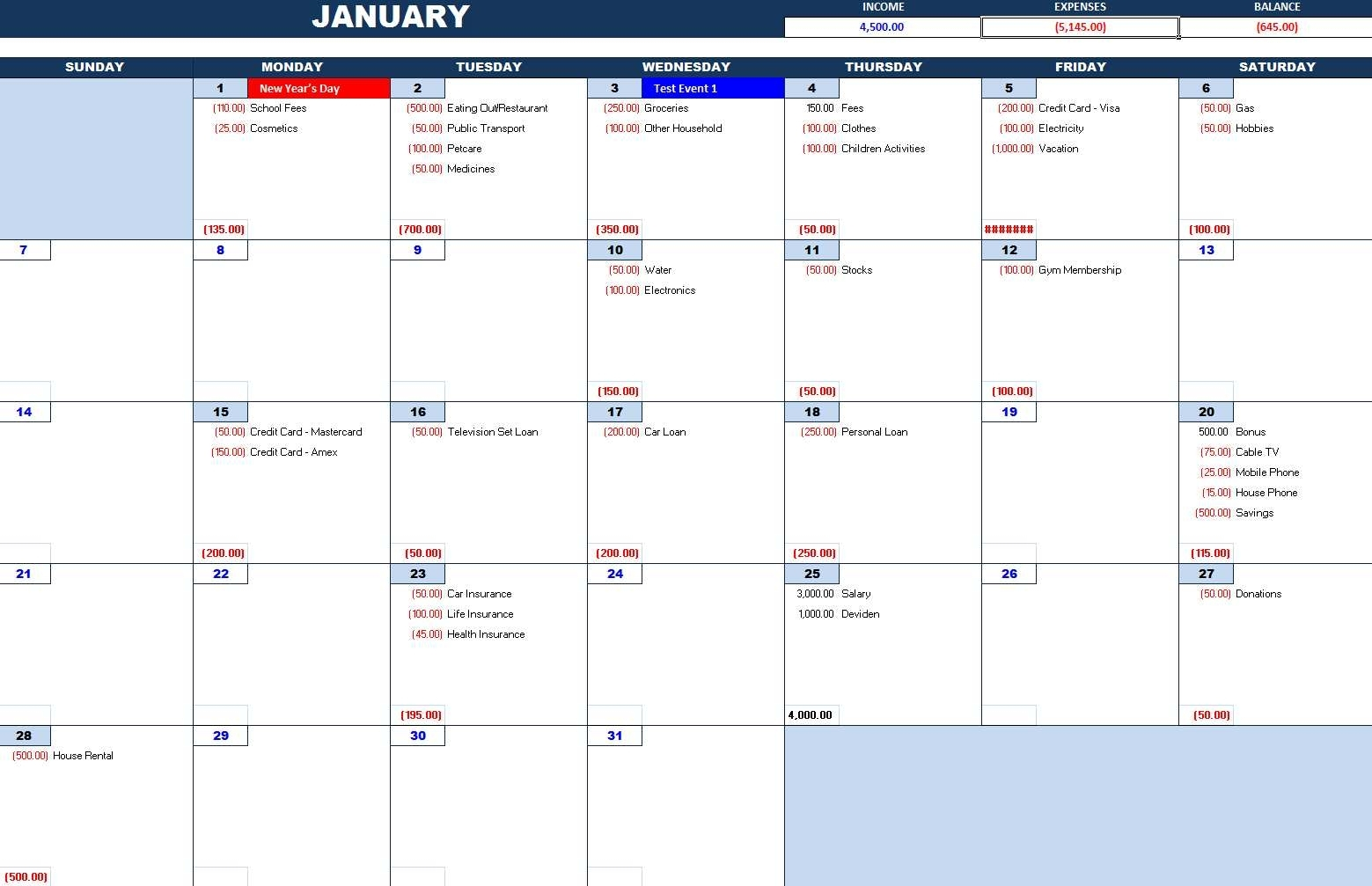 Bill Payment Calendar – Excel Calendars with regard to Monthly Calendars For Bill Paying