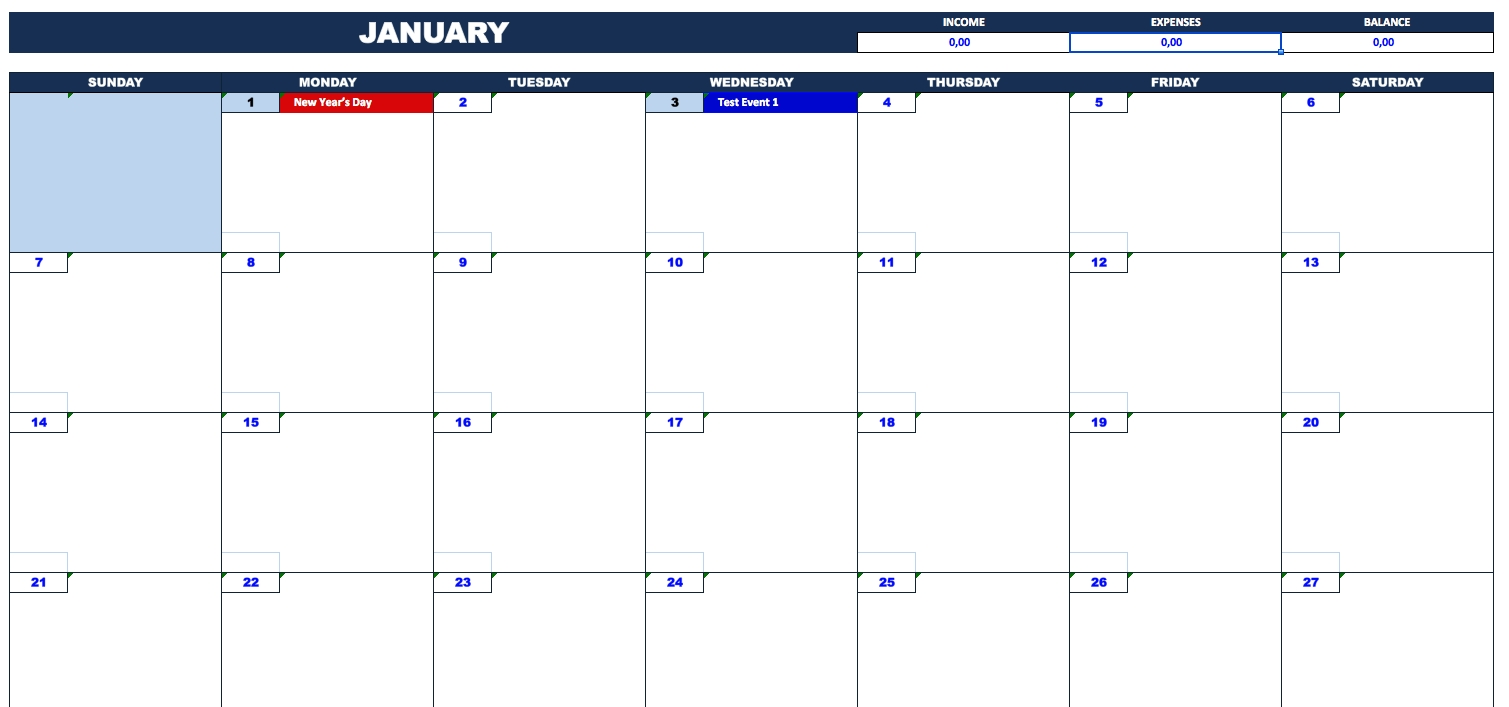 Bill Payment Calendar » Exceltemplate for Mothly Bill Payment Balance Sheet Blank