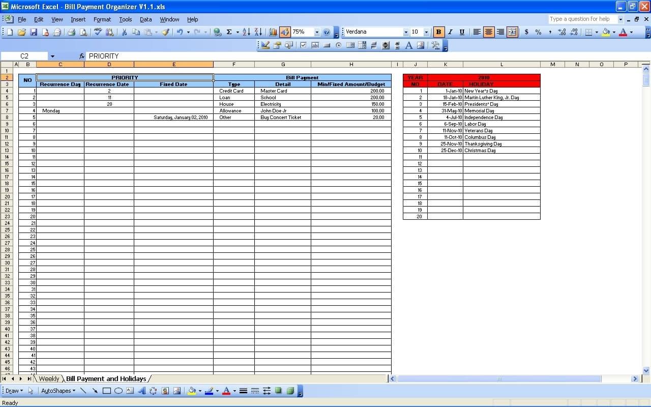 Bill Payment Calendar » Exceltemplate inside Calendar With Bill Due Dates