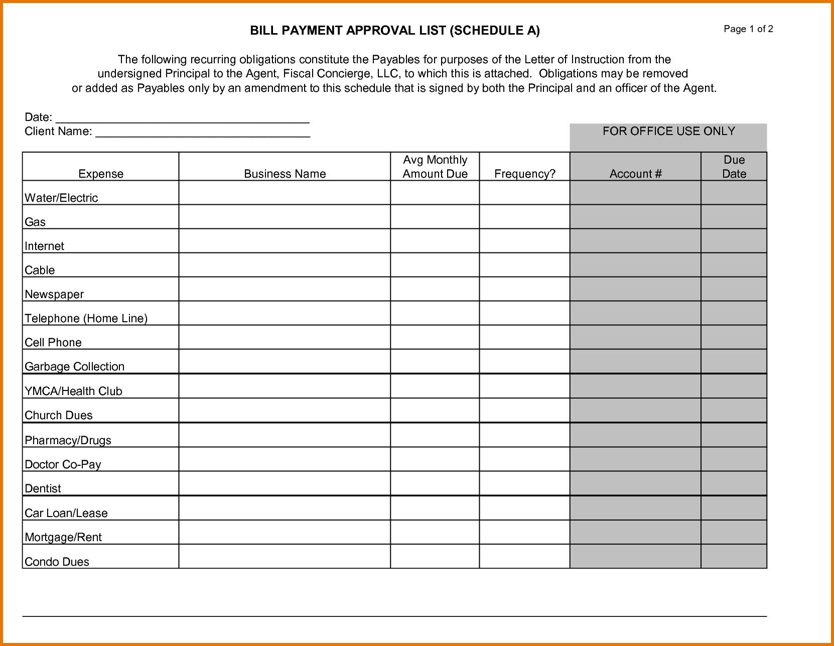 Bill Payment Calendar Template Fitted Photo Schedule For Bill within Bill Due Date Calendar Template