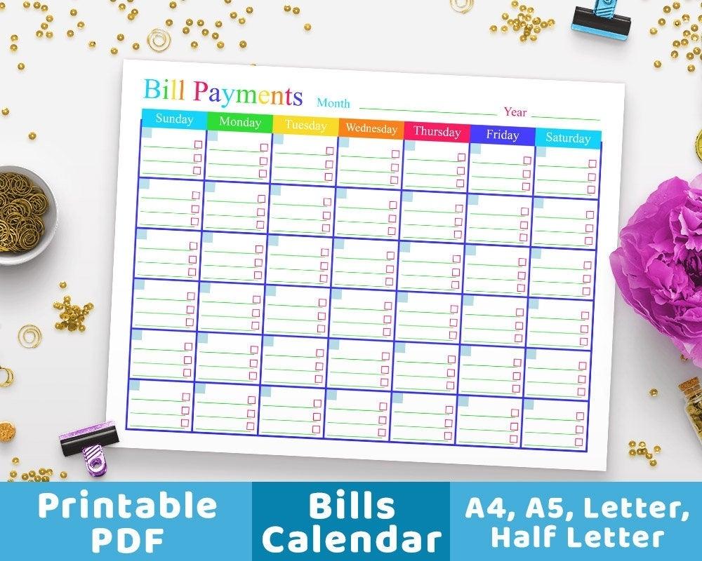 Bill Payments Calendar Bills Tracker Bill Calendar Bills | Etsy in Blank Bill Calendar Printable Colorful