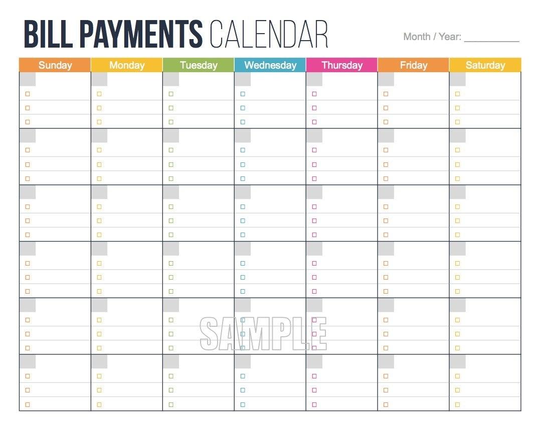 Bill Payments Calendar Personal Finance Organizing | Etsy inside Blank Bill Calendar Printable Colorful