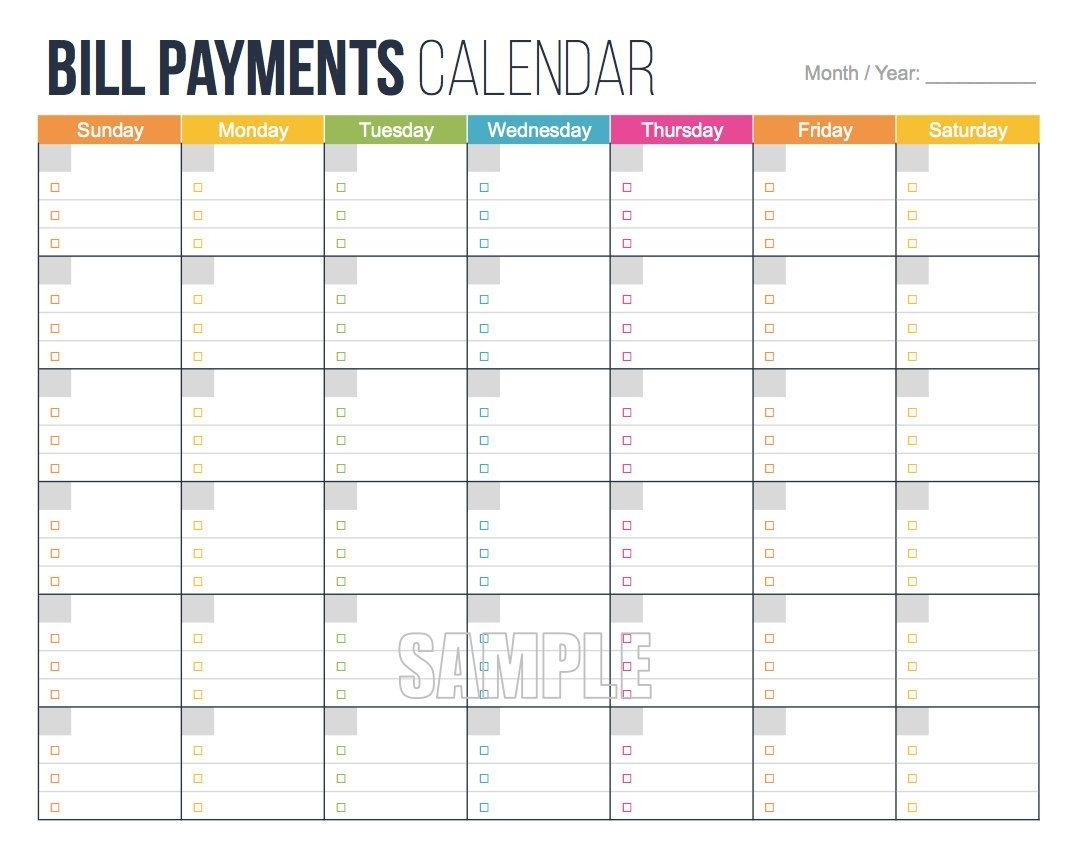Bill Payments Calendar - Personal Finance Organizing Printables in Monthly Bill Payment Blank Worksheet