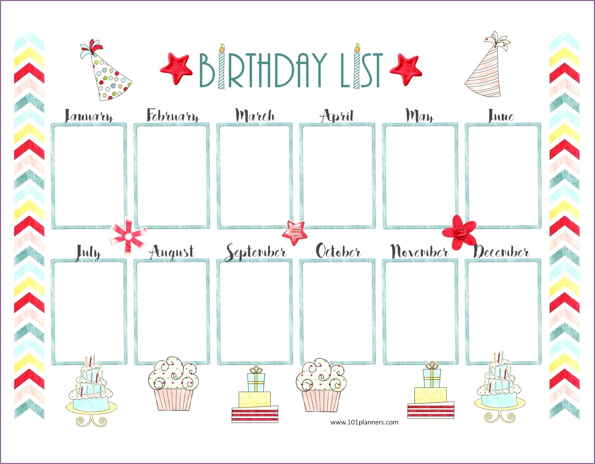 Birthday Calendar Template Excel 14 Free Birthday Calendar Template inside Free Images Of Birthday Calanders