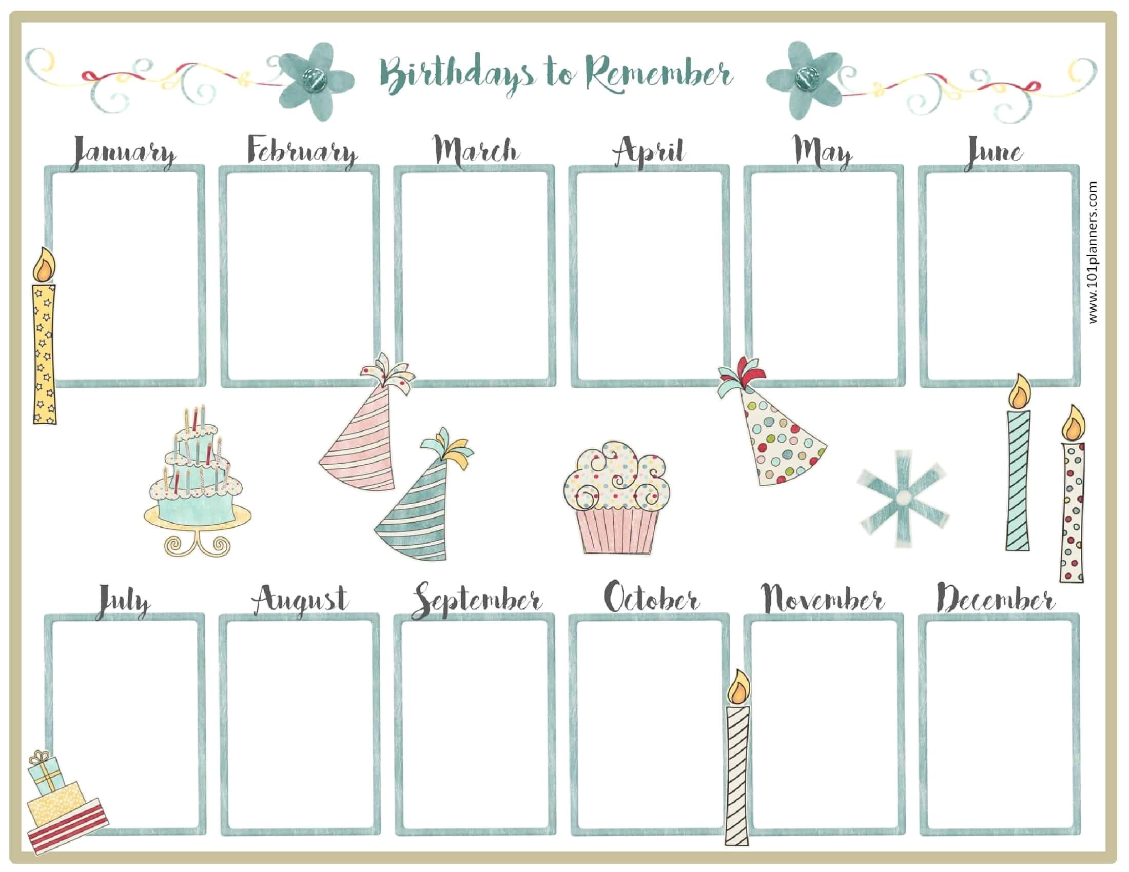 Birthday Calendar Template Excel Free Birthday Calendar Customize for Free 12 Month Birthday Calendar Template