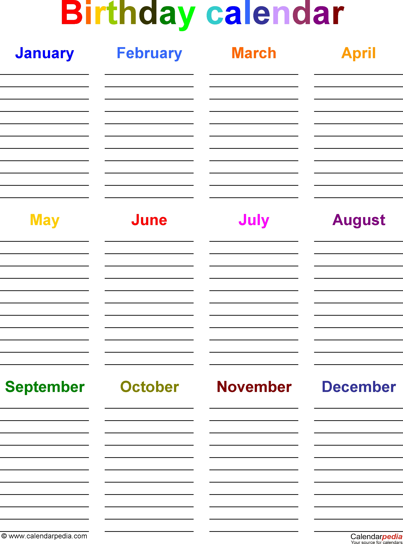 Birthday Calendars - 7 Free Printable Word Templates intended for Free Printable Birthday Calendar Template