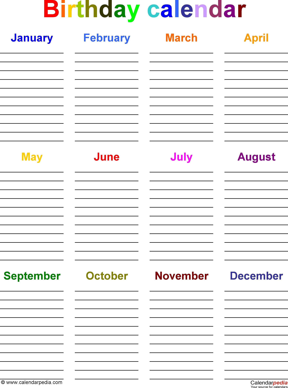 Birthday Calendars - 7 Free Printable Word Templates regarding 12 Month Birthday Calendar Template