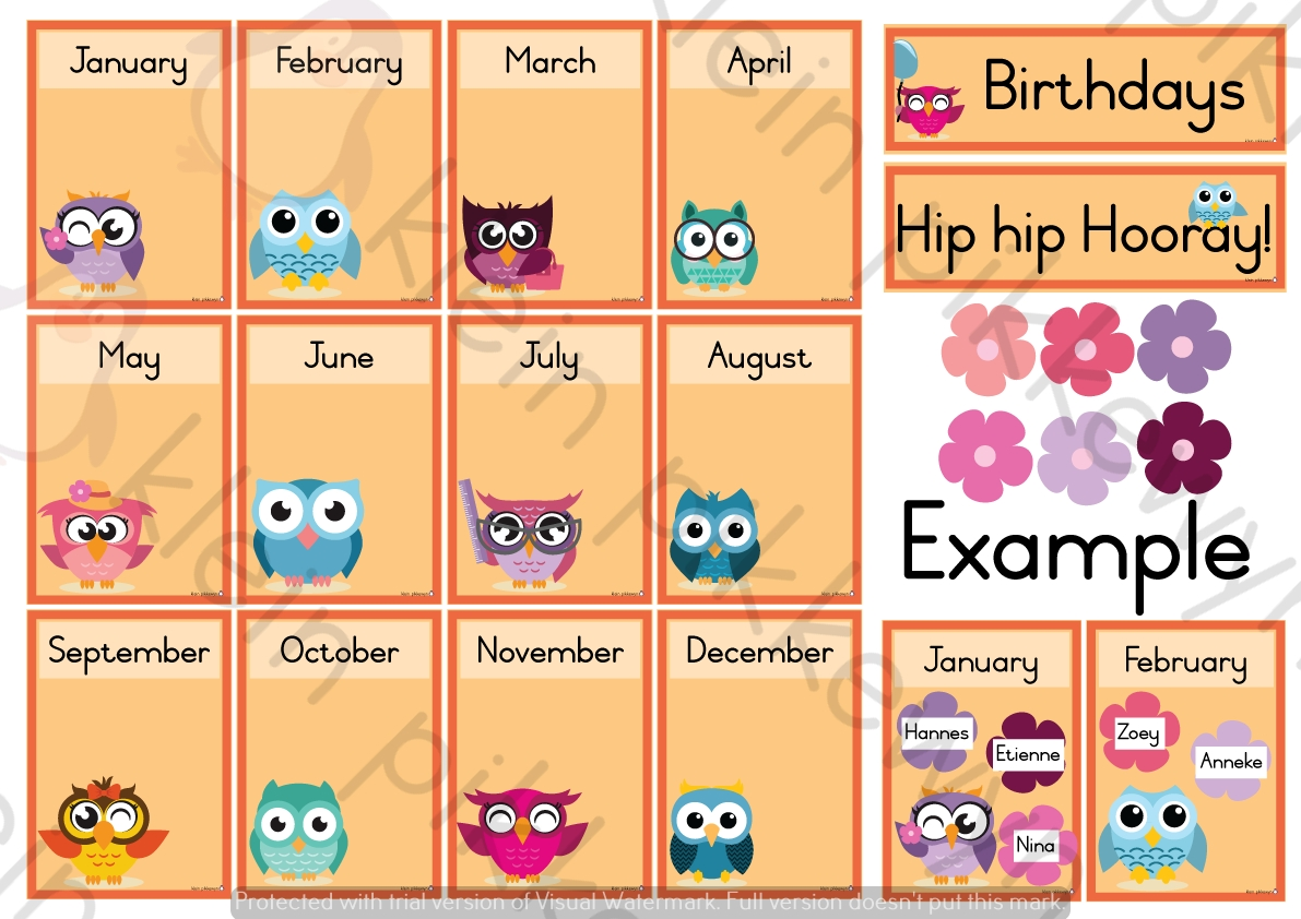 Birthday Chart: Owls Theme – Teacha! with regard to Printable Months Of Year Owl
