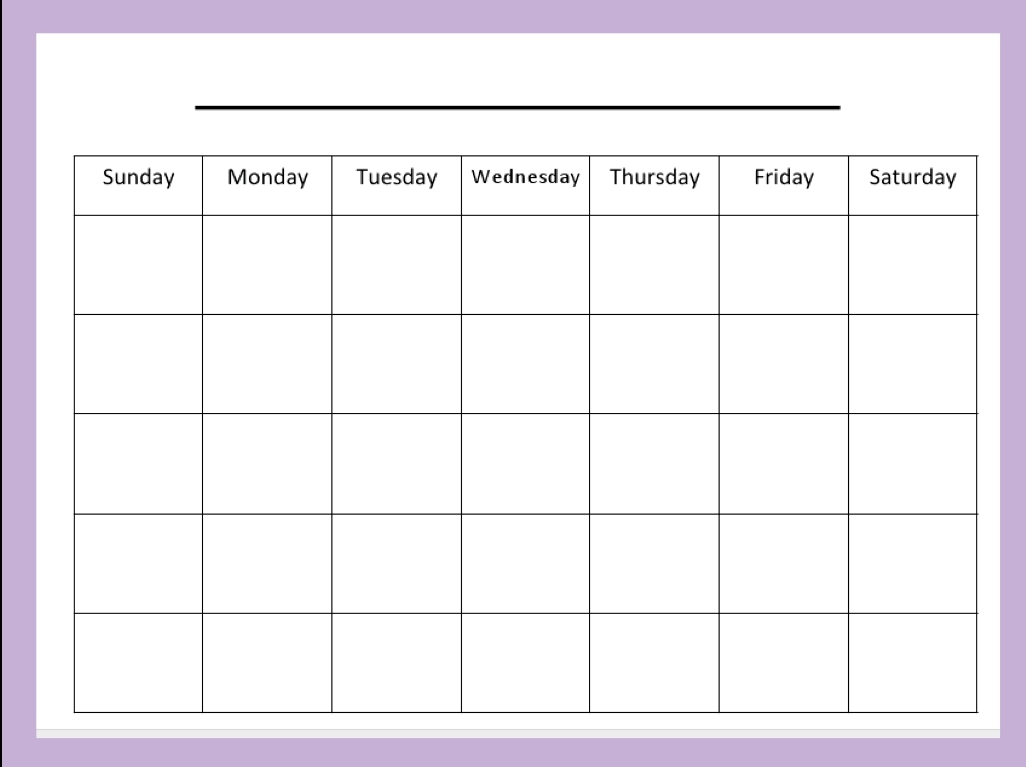 Blank 30 Day Calendar | Printable Calendar Templates 2019 regarding Blank 30 Day Calendar Template
