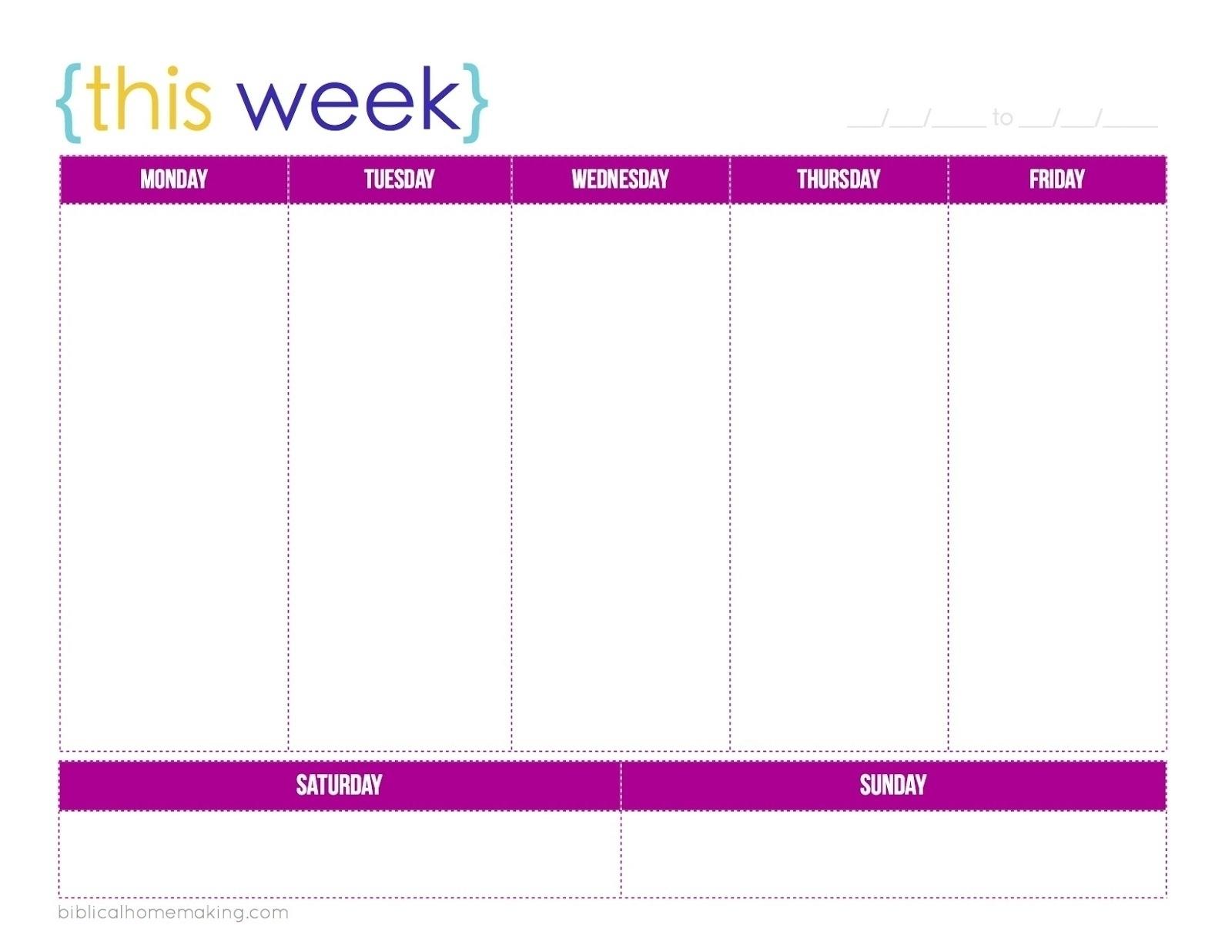 Blank 5 Day Calendar Printable | Template Calendar Printable intended for 5 Day Week Calendar Template