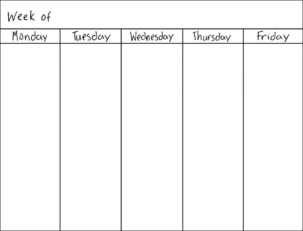Blank 5 Day Calendar Template | Thegioithamdep regarding 5 Day Calendar Template Word