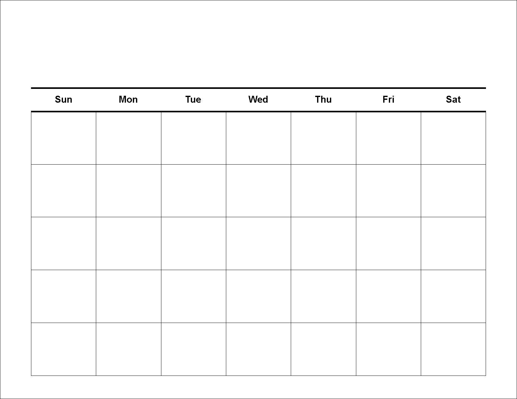 Blank 5 Day Week Calendar   Template Calendar Printable pertaining to 5 Day Week Calendar Printable