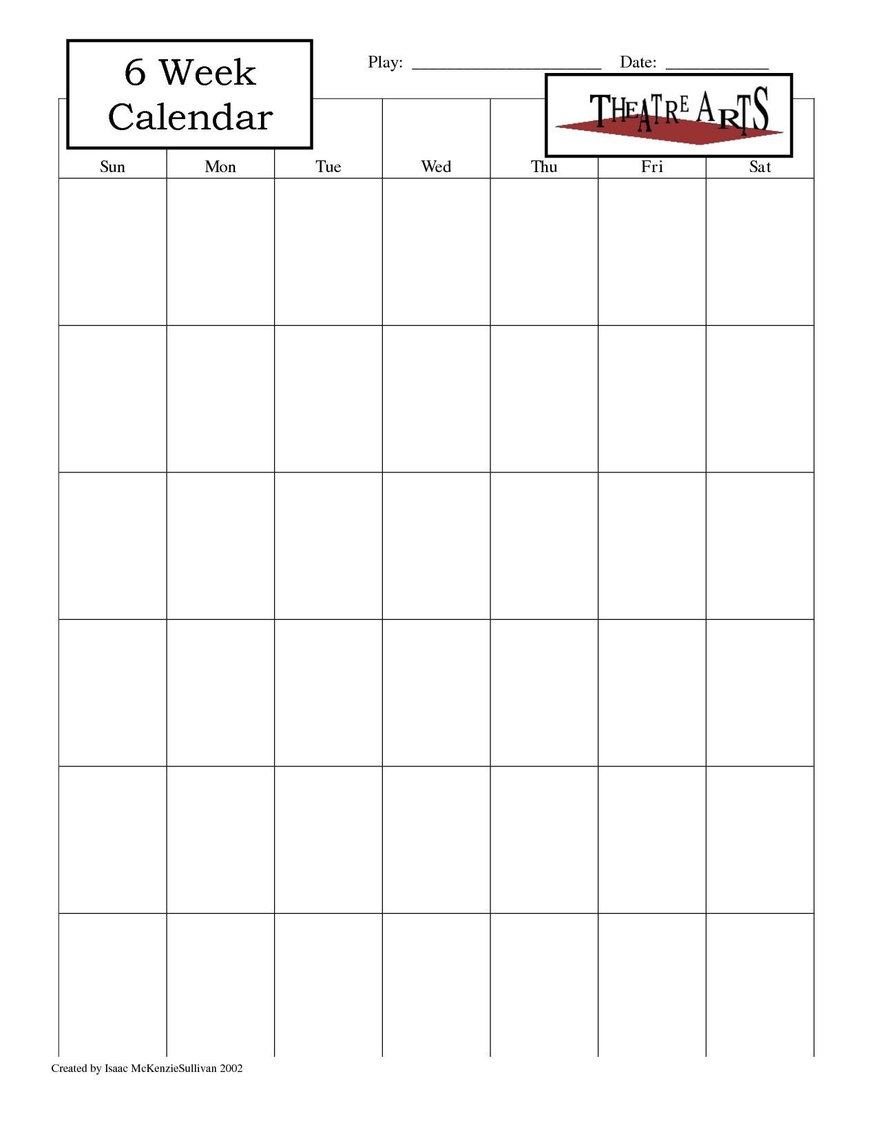 Blank 6 Week Calendar Template With Weeks 25971 Also On 6 Week for 6 Week Blank Calendar Template