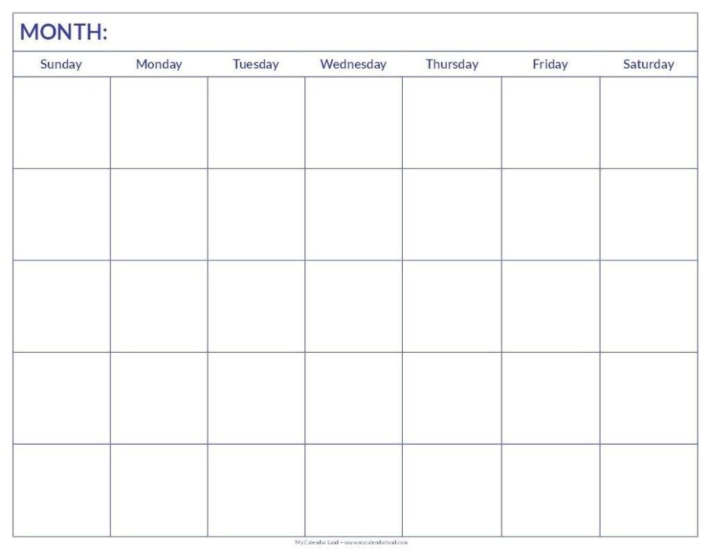 Blank 6 Week Calendar | Thegioithamdep throughout 6 Week Blank Calendar Printable